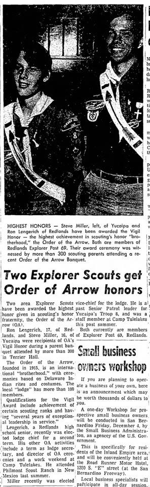 1970 - Stephen Miller and Ron Lengerich Vigil Honor Recipients