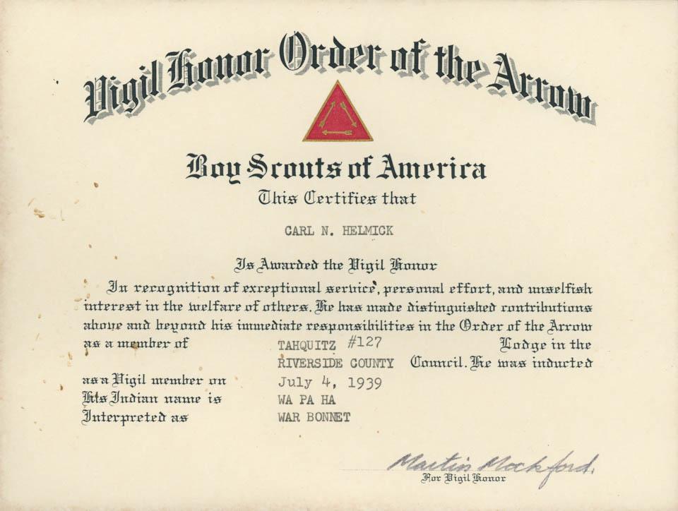 Carl N. Helmick Vigil Honor Certificate