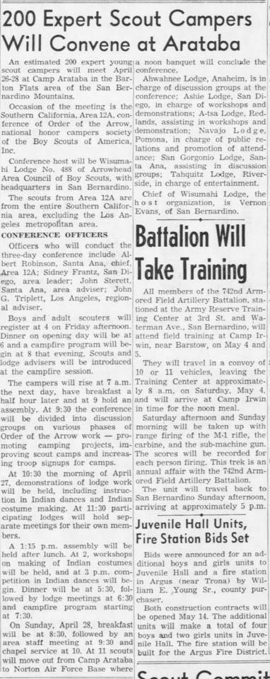 1957-04-23 San Bernardino Sun Area 12-A Announcement