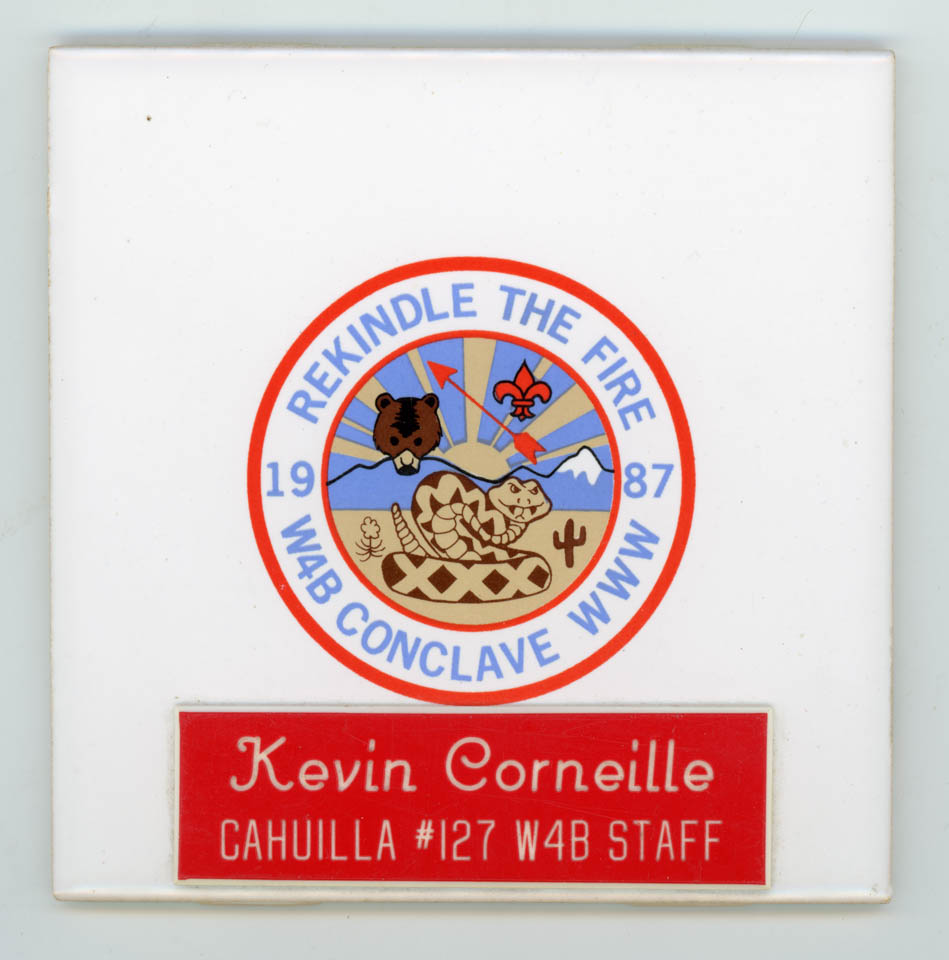 1987 Section W4B Conclave Staff Tile - Kevin Corneille - Cahuilla Lodge # 127
